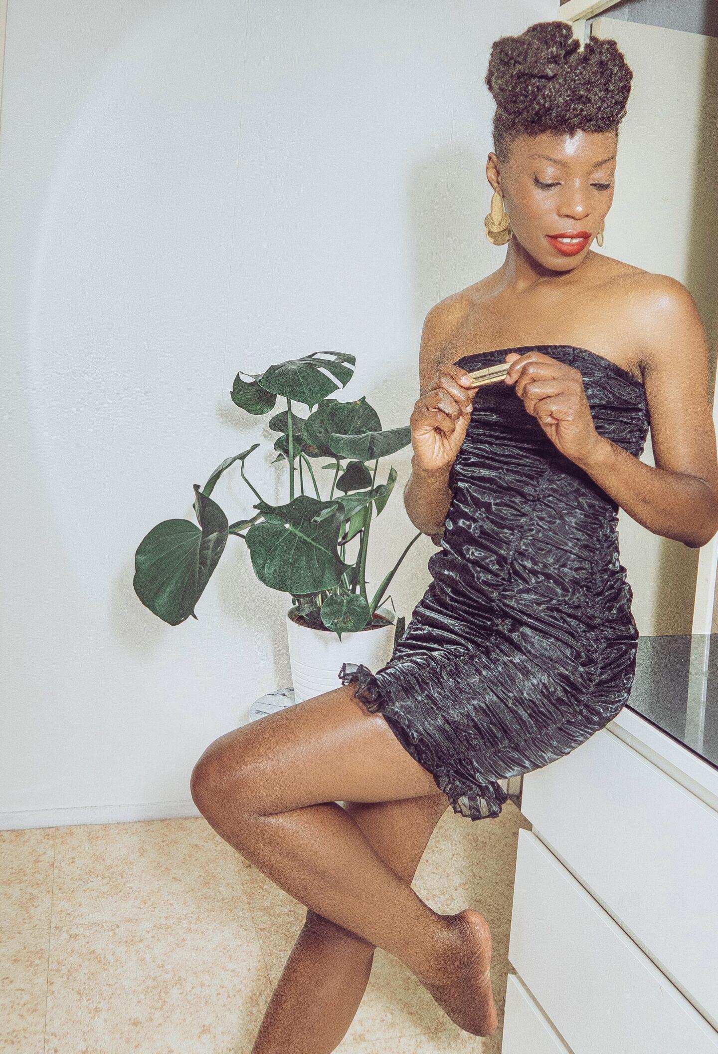 Black Ruched Mesh Overlay Strapless Bodycon Mini Dress